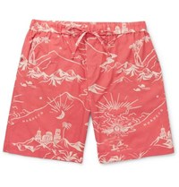 Desmond And Dempsey Printed Cotton Pyjama Shorts Crimson