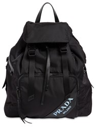 Prada New Logo Nylon Canvas Backpack Black