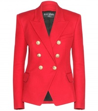 Balmain Double Breasted Cotton Blazer Red
