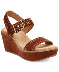 Clarks Artisan Aisley Orchid Wedge Sandals Women's Shoes Dark Tan Suede