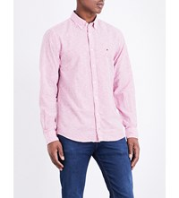 Tommy Hilfiger Striped Slim Fit Cotton And Linen Blend Shirt Cerise White