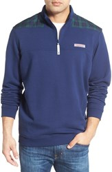 Men's Vineyard Vines 'Shep Blackwatch' French Terry Quarter Zip Sweater