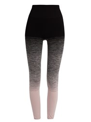 Pepper And Mayne High Rise Compression Ombre Performance Leggings Black Pink