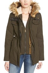 Women's Vince Camuto Faux Fur And Faux Leather Trim Twill Utility Parka