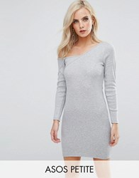 Asos Petite Asymmetric Shoulder Rib Bodycon Dress With Long Sleeve Grey