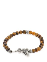 Cantini Mc Firenze Croco Tiger Eye Beaded Bracelet Multicolor