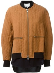 3.1 Phillip Lim Quilted Bomber Jacket Brown