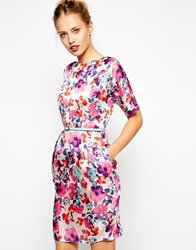 Asos Mini Wiggle Dress In Bright Floral With Belt Print