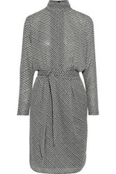 Joie Woman Anastasia Belted Houndstooth Crepe De Chine Dress Gray