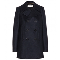 Saint Laurent Wool Pea Coat Dark Navy