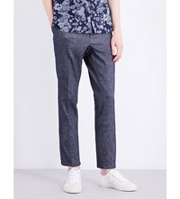 The Kooples Slim Fit Tapered Linen And Cotton Blend Trousers Blue6