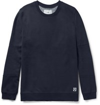 Folk Elbow Patch Cotton Blend Jersey And Shell Sweatshirt Navy