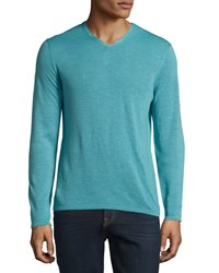 Zachary Prell V Neck Linen Blend Long Sleeve Sweater Aqua Blue Men's