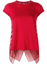 Sacai Open Back Scarf Print T Shirt Red