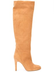 Alexa Wagner High Rise Boots Women Leather Suede 38.5 Nude Neutrals