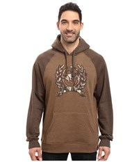 Cinch Fleece Hoodie W Color Blocked Heathered Brown Men's Sweatshirt