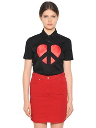 Love Moschino Embroidered Cotton Poplin Shirt