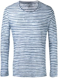 Majestic Filatures Striped Long Sleeve T Shirt Blue
