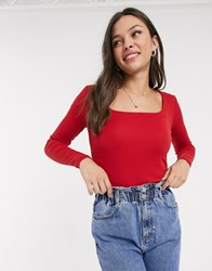 Jdy Rib Top With Square Neck In Red