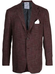 Kiton Tweed Blazer Red