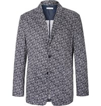Engineered Garments Blue Baker Slim Fit Paisley Print Cotton Voile Blazer Navy