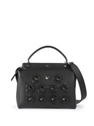 Fendi Floral Studded Dotcom Leather Satchel Black