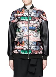 Giamba Faux Leather Sleeve Graffiti Jacquard Bomber Jacket Multi Colour