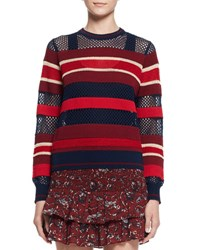 Etoile Isabel Marant Deacon Ribbed Mesh Trim Pullover Sweater Blue