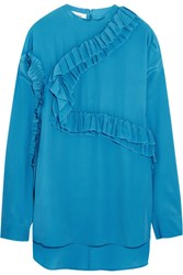 Cedric Charlier Ruffled Georgette Top Turquoise
