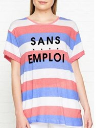 Wildfox Couture Sans Emploi Stripe T Shirt Red White Blue Red White Blue