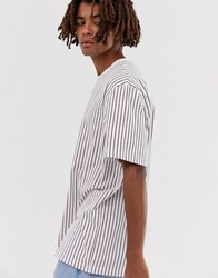 Brooklyn Supply Co. Co Relaxed T Shirt With Vertical Red Stripes In White