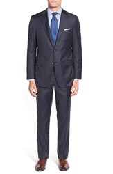 Men's Big And Tall Hickey Freeman Classic Fit Solid Wool Suit Navy