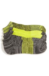 Nordstrom Shop 3 Pack No Show Socks Chartreuse Charcoal Marl