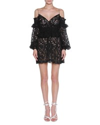 Francesco Scognamiglio Floral Lace Cold Shoulder Peplum Minidress Black
