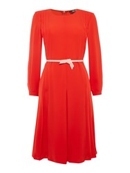 Max Mara Donare Long Bell Sleeve Pleated Skirt Red