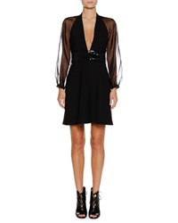Emporio Armani Deep V Sheer Sleeve Belted Crepe Mini Cocktail Dress Black