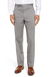 John W. Nordstrom Torino Traditional Fit Flat Front Solid Stretch Cotton Trousers Grey