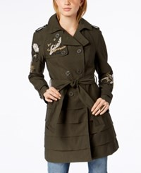 Inc International Concepts I.N.C. Embroidered Trench Coat Created For Macy's Green