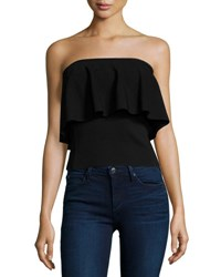 Milly Strapless Flounce Top Black