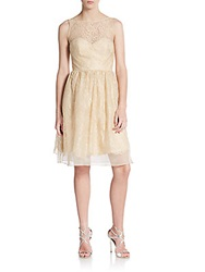 Theia Metallic Lace Cocktail Dress Blonde