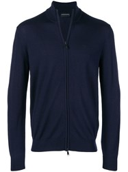 Emporio Armani Zip Up Cardigan Blue