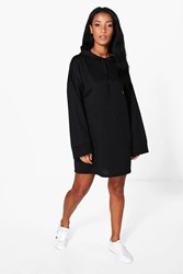 Boohoo Wide Sleeve Relaxed Fit Sweat Dress Black