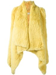 Drome Draped Lapin Fur Waistcoat Yellow And Orange
