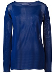 Cruciani Sheer Boat Neck Sweater Blue