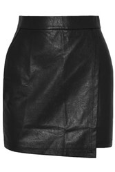 Splendid Wrap Effect Faux Leather Mini Skirt Black