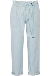 Current Elliott Newsboy Chambray Straight Leg Pants Blue