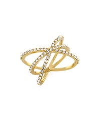 Louise Et Cie Micro Pave Crisscross Ring Gold