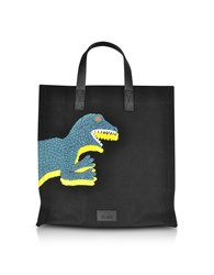 Paul Smith Bags Black Dino Printed Canvas Tote Bag With Leather Handles