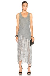 Proenza Schouler Fringe Basket Weave Long Dress In Black White Checkered And Plaid