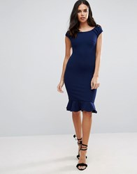 Jessica Wright Peplum Midi Dress Navy